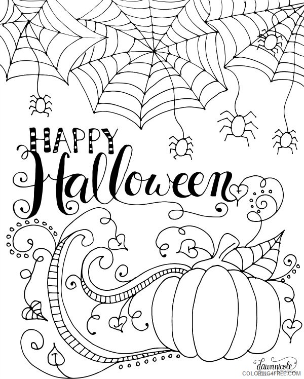 happy halloween coloring pages for adults Coloring4free