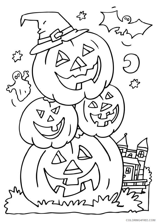 happy halloween coloring pages pumpkins Coloring4free