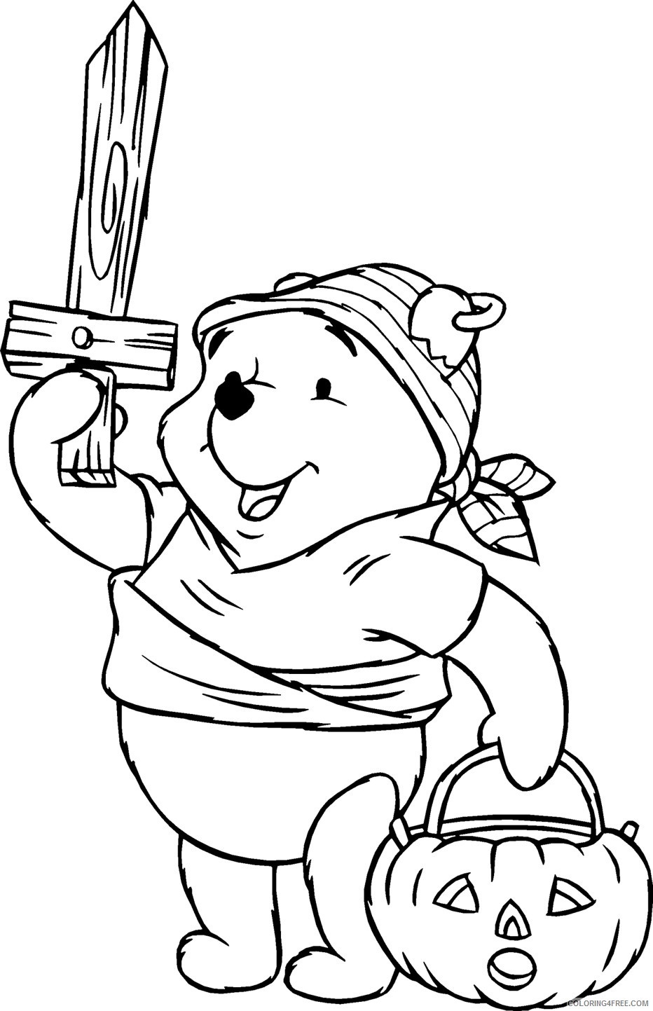 happy halloween coloring pages winnie the pooh Coloring4free