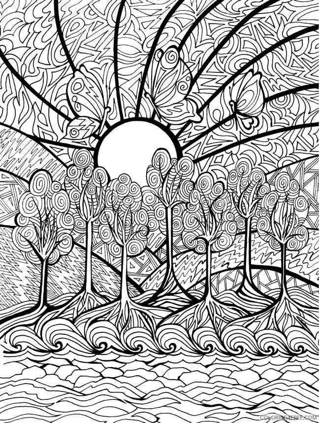 hard coloring pages of abstract nature for adults Coloring4free