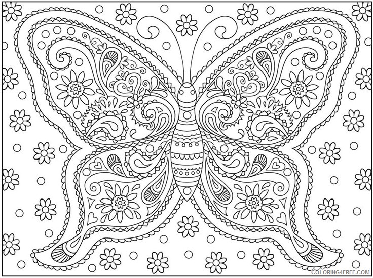 hard coloring pages of butterfly Coloring4free