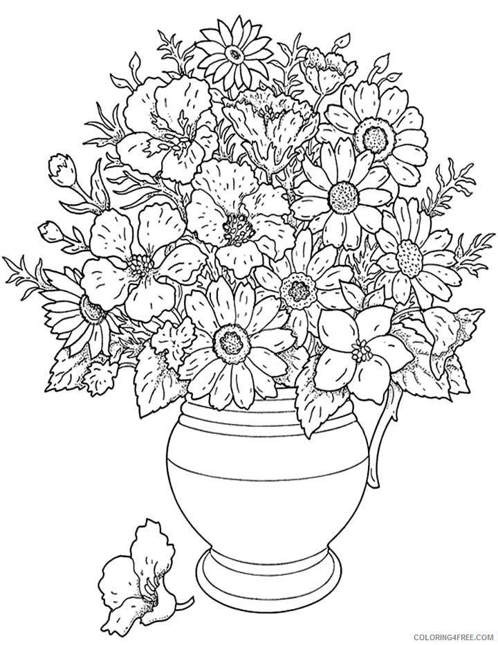 hard coloring pages of flowers Coloring4free