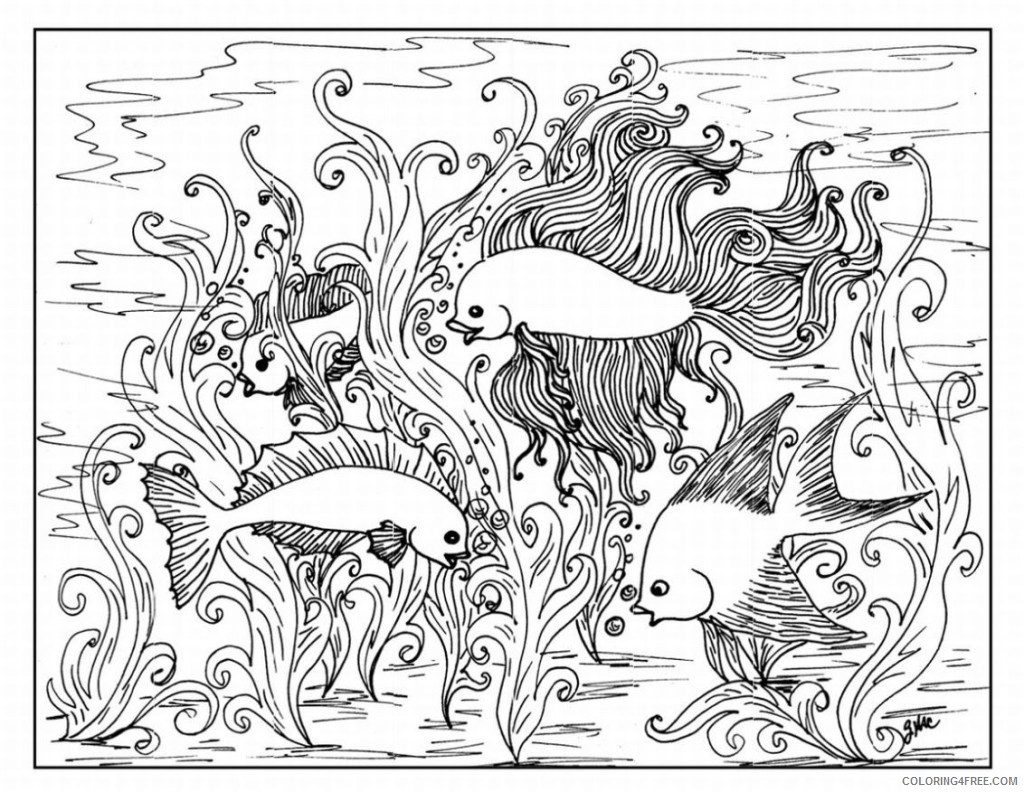 hard coloring pages of underwater ocean life Coloring4free