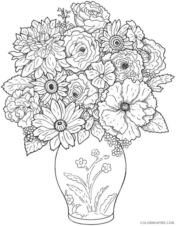 hard detailed coloring pages of flowers Coloring4free