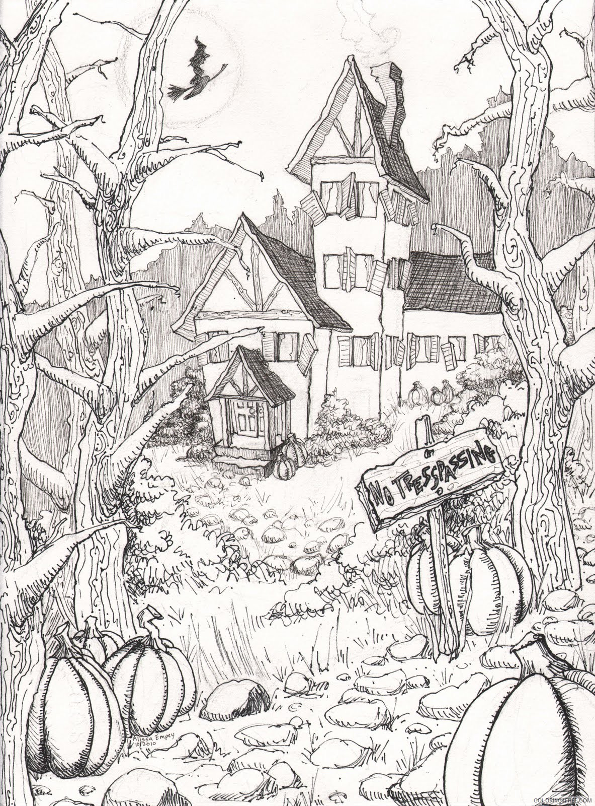hard halloween coloring pages to print Coloring4free