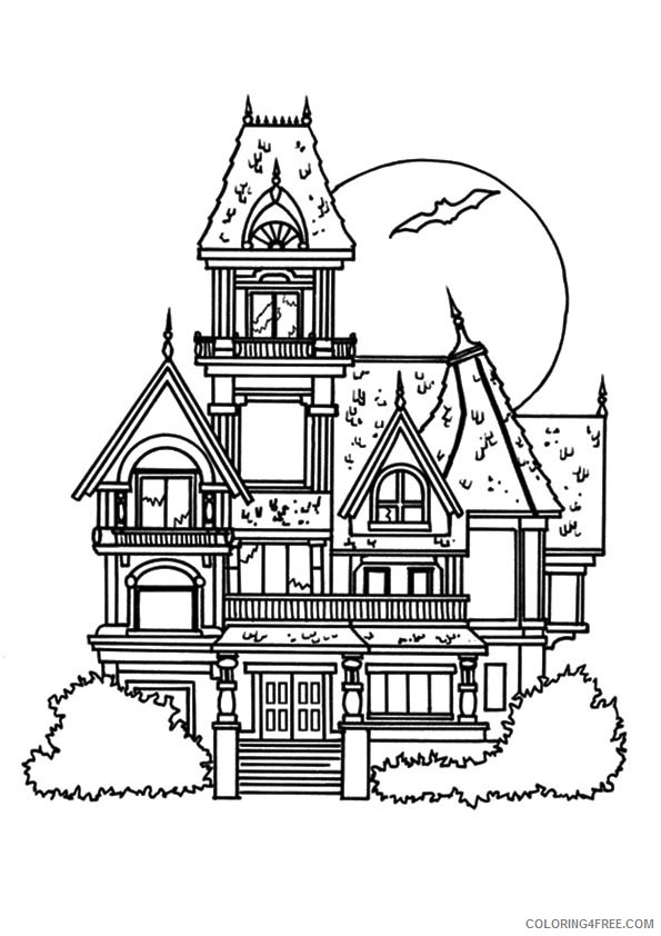 haunted house coloring pages castle Coloring4free