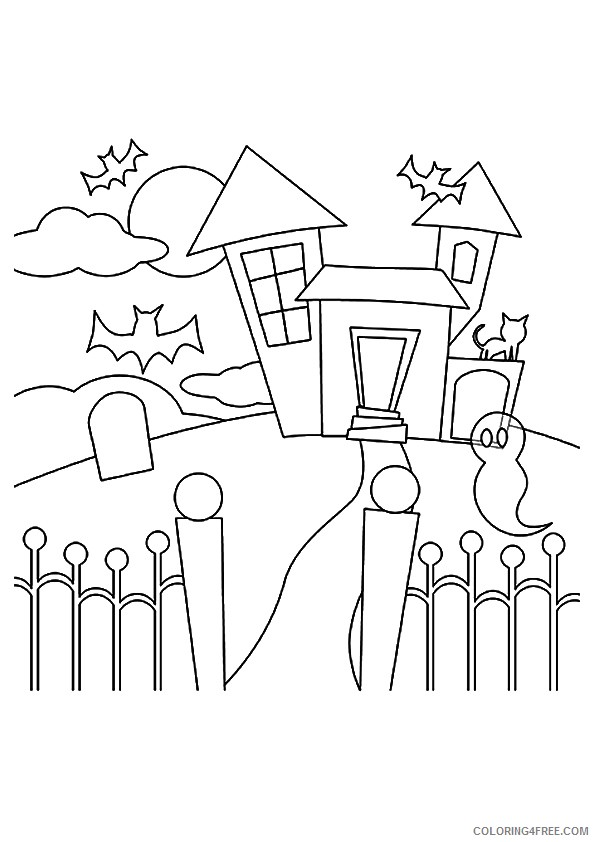 haunted house coloring pages for kids 2 Coloring4free