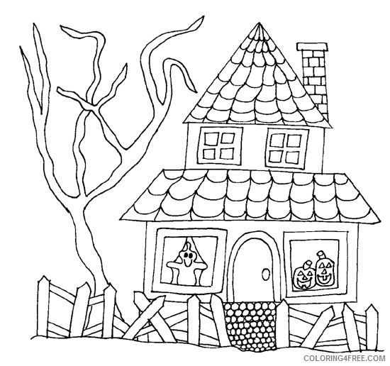 haunted house coloring pages for kids printable Coloring4free