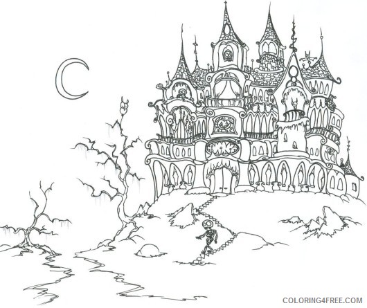 haunted house coloring pages free to print Coloring4free