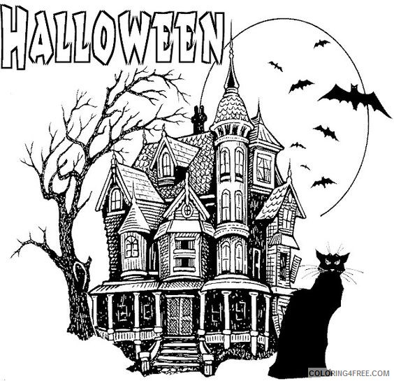 haunted house coloring pages halloween castle Coloring4free