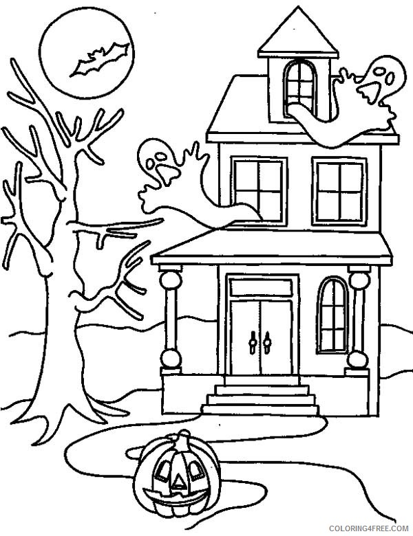 haunted house coloring pages in halloween Coloring4free