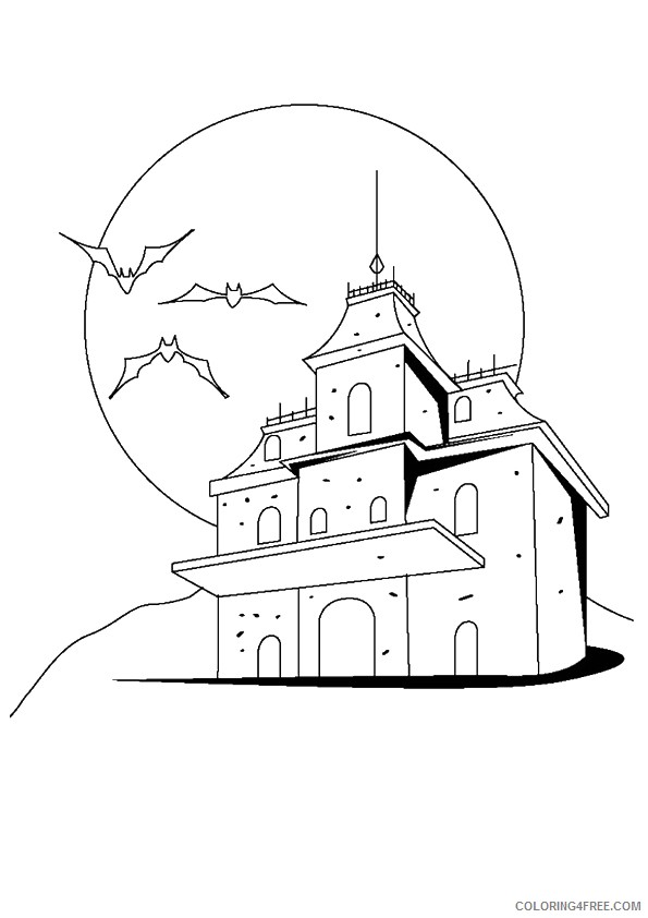 haunted house coloring pages mansion Coloring4free