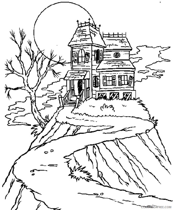 haunted house coloring pages on the hill Coloring4free
