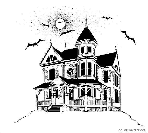 haunted house coloring pages with bats Coloring4free
