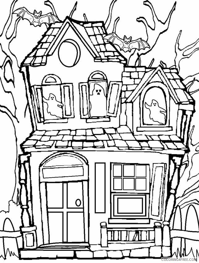 haunted house coloring pages with ghosts and bats Coloring4free