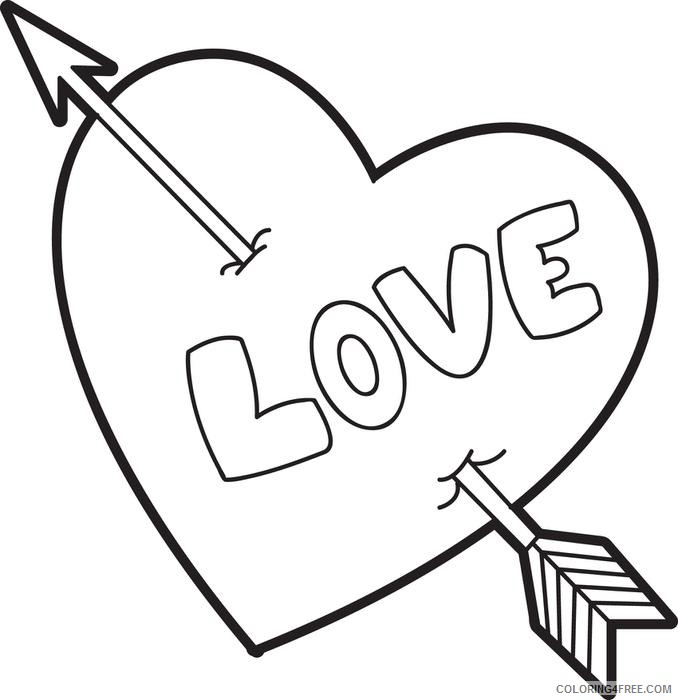 heart coloring pages love heart arrow Coloring4free