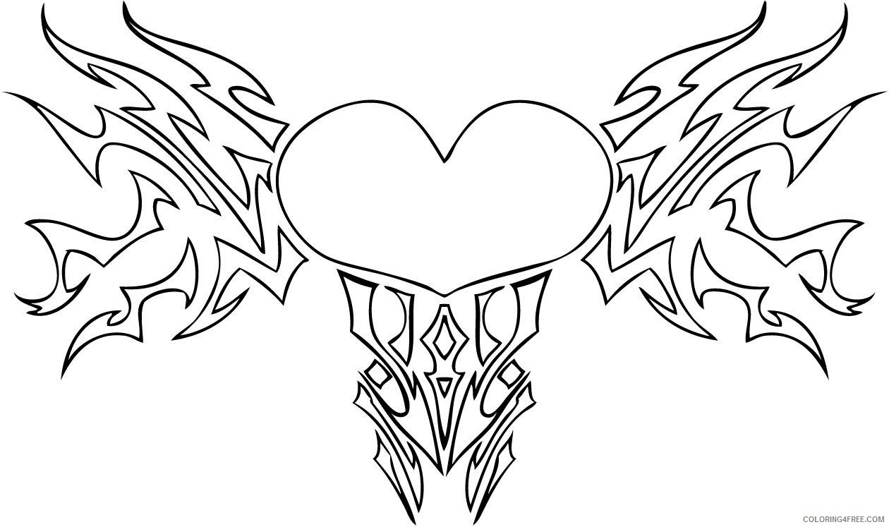 heart coloring pages love tribal Coloring4free