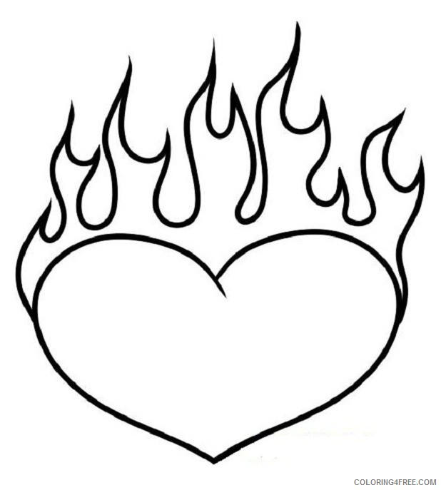 heart coloring pages with flames Coloring4free