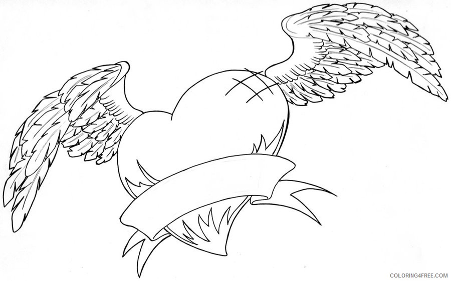 heart coloring pages with wings and ribbon Coloring4free