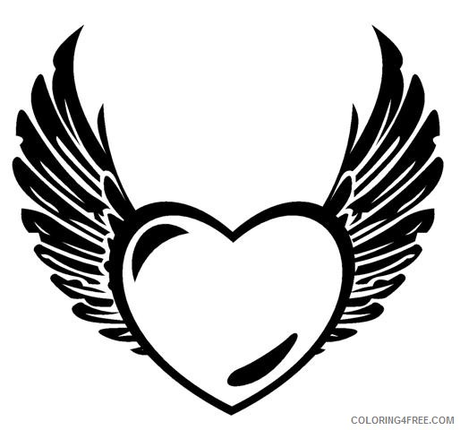 heart with wings coloring pages black Coloring4free