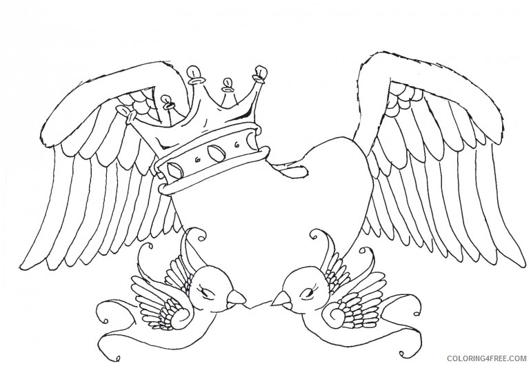 heart with wings coloring pages crown and birds Coloring4free