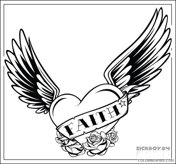 heart with wings coloring pages faith Coloring4free