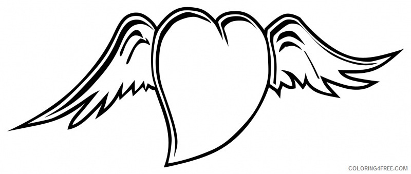 heart with wings coloring pages for kids Coloring4free