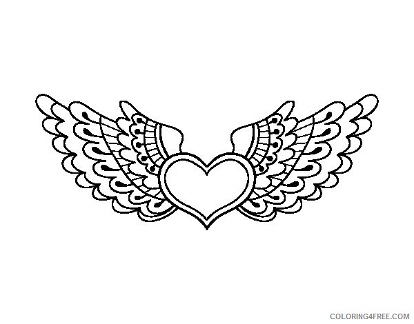 heart with wings coloring pages printable Coloring4free