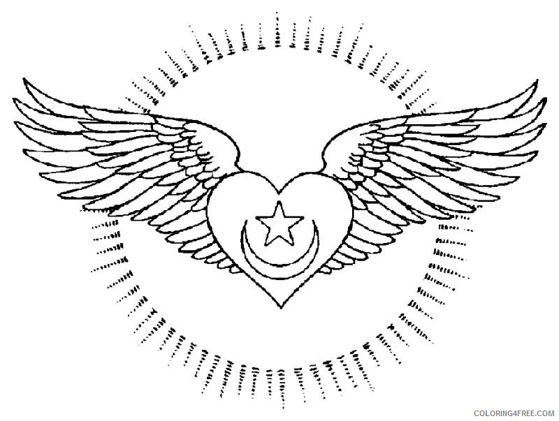 heart with wings coloring pages with star and moon Coloring4free