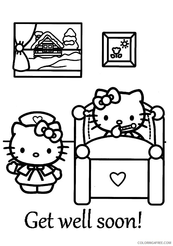 hello kitty get well soon coloring pages Coloring4free