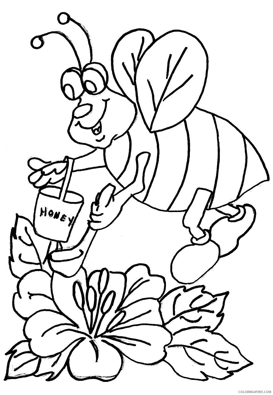 honey bee coloring pages free to print Coloring4free