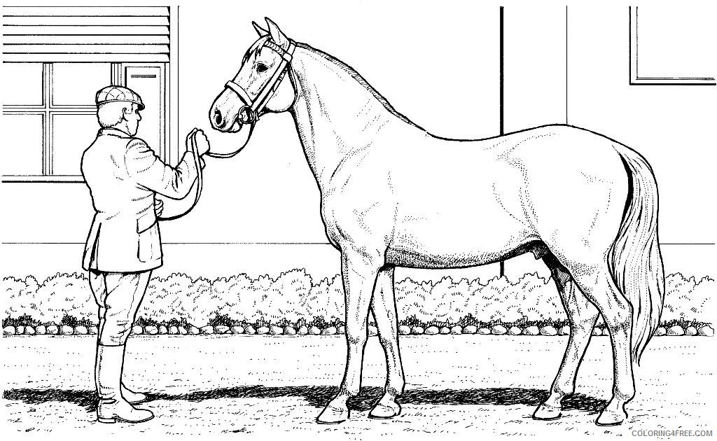 horse coloring pages and its owner Coloring4free