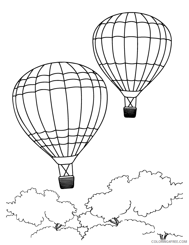 hot air balloon coloring pages flying Coloring4free