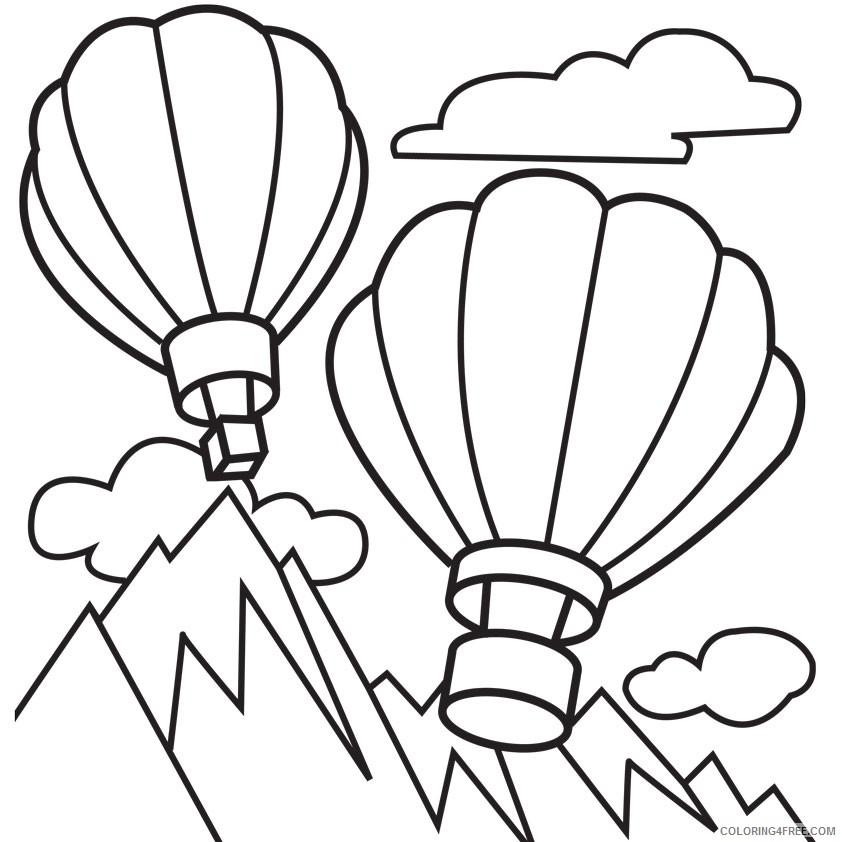 hot air balloon coloring pages flying above mountains Coloring4free
