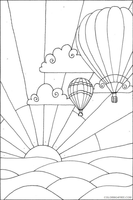 hot air balloon coloring pages flying at sunset Coloring4free