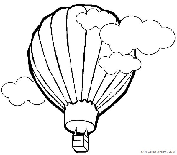 hot air balloon coloring pages flying in clouds Coloring4free