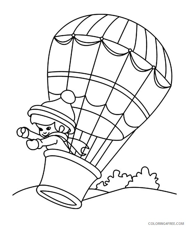 hot air balloon coloring pages with girl inside Coloring4free