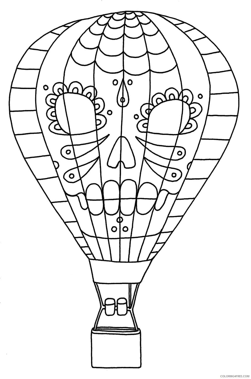 hot air balloon coloring pages with sugar skull images Coloring4free