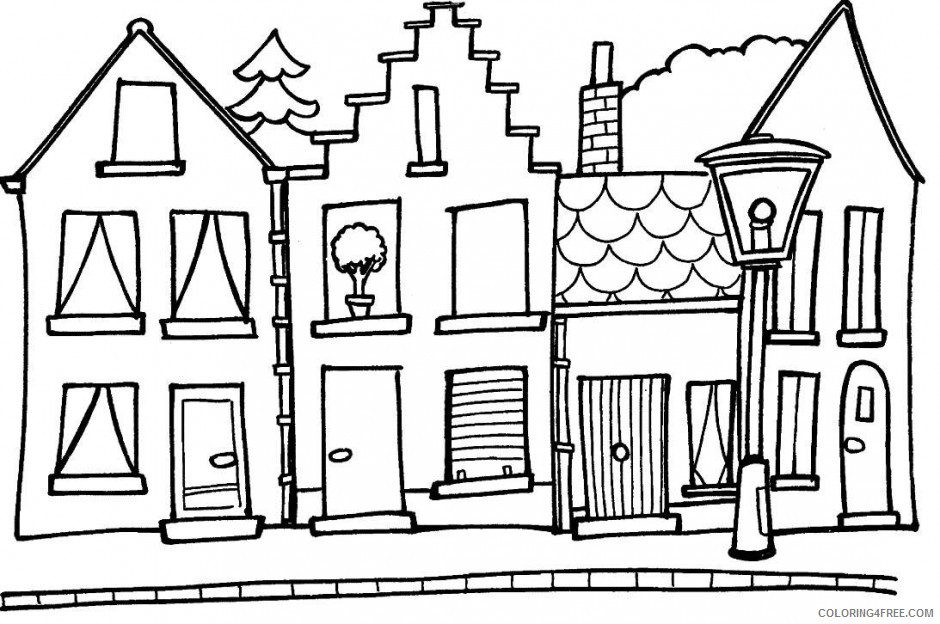 house coloring pages free Coloring4free