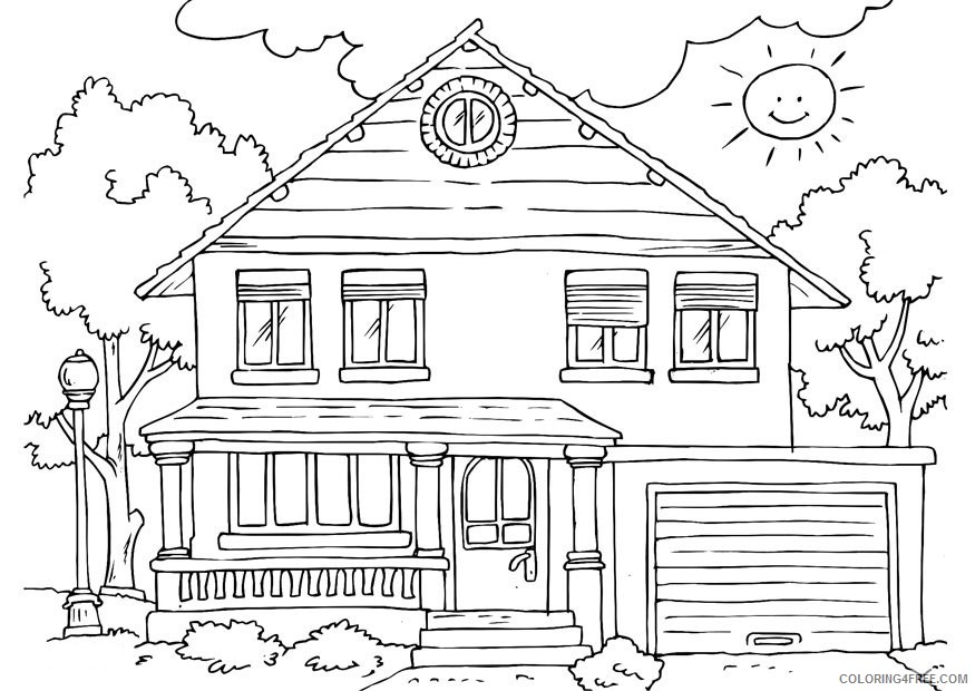 house coloring pages free to print Coloring4free