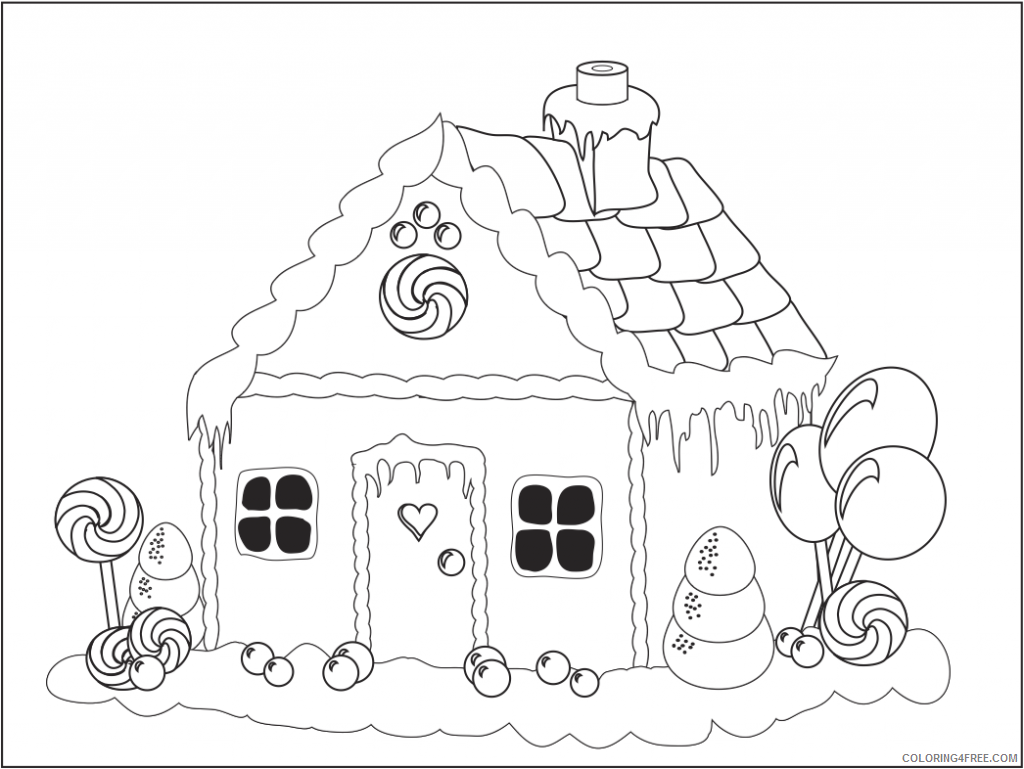 house coloring pages gingerbread house Coloring4free