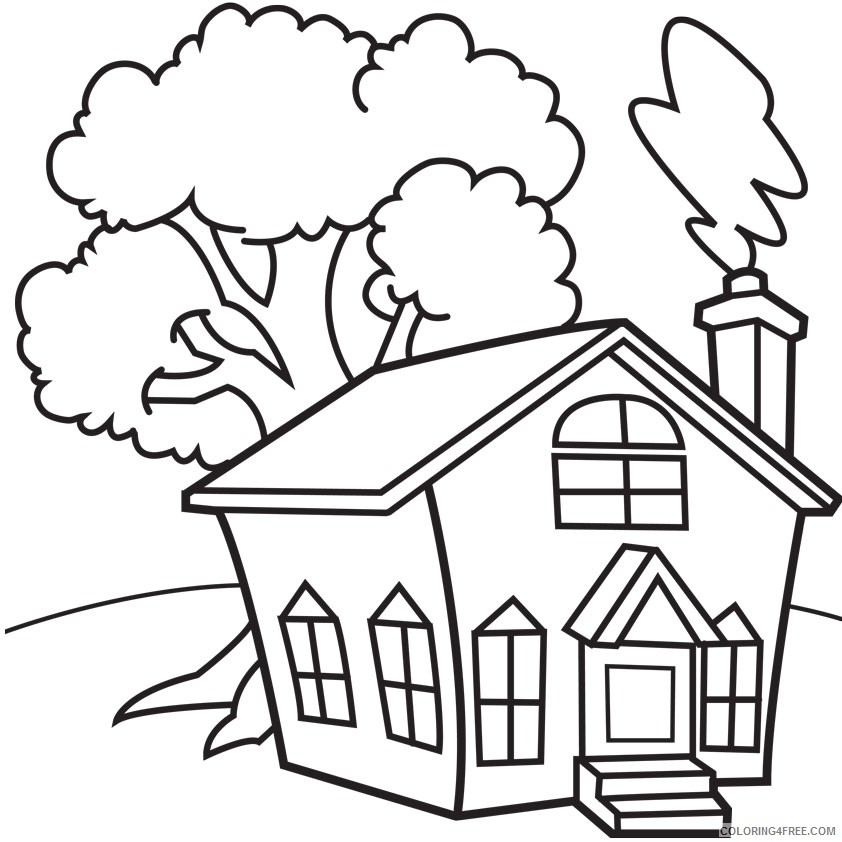 house coloring pages printable for kindergarten Coloring4free