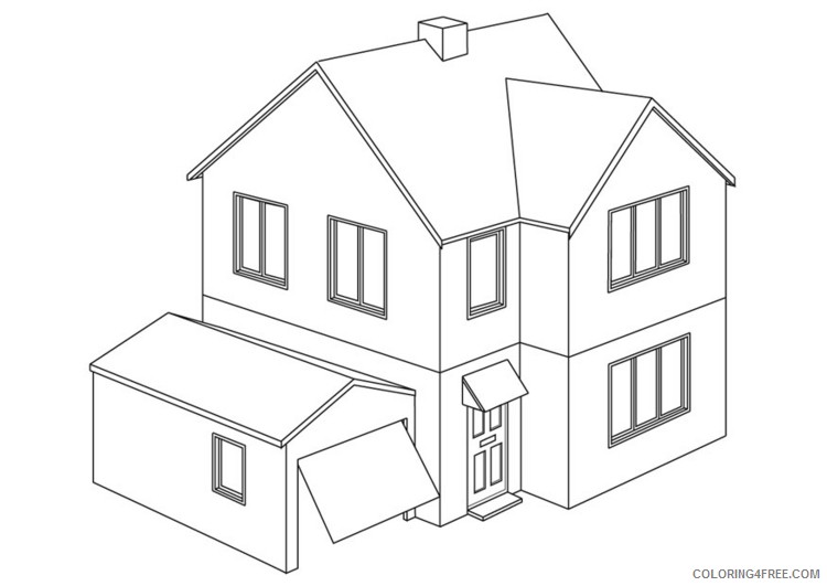 house coloring pages printable free Coloring4free