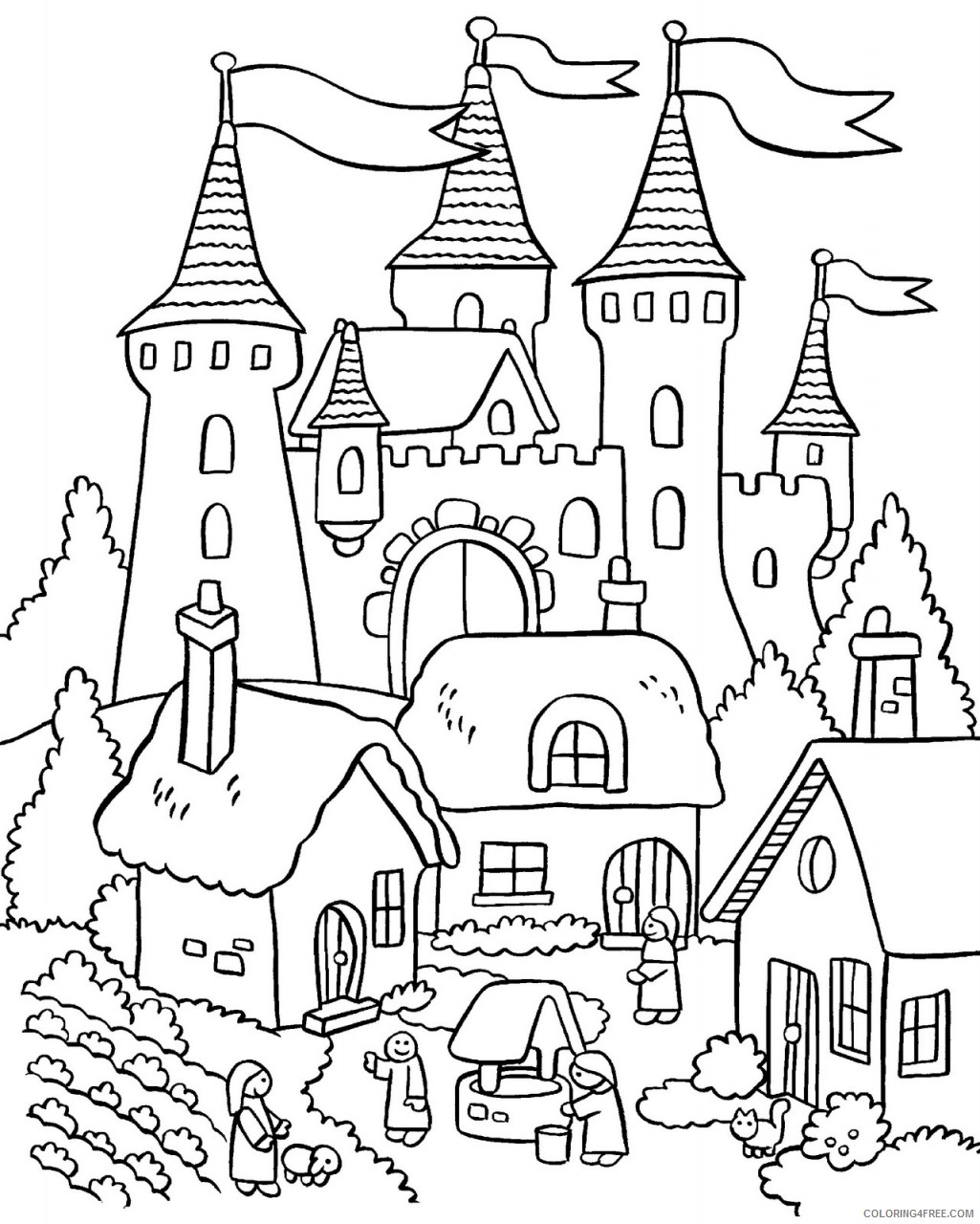 house coloring pages with royal palace Coloring4free