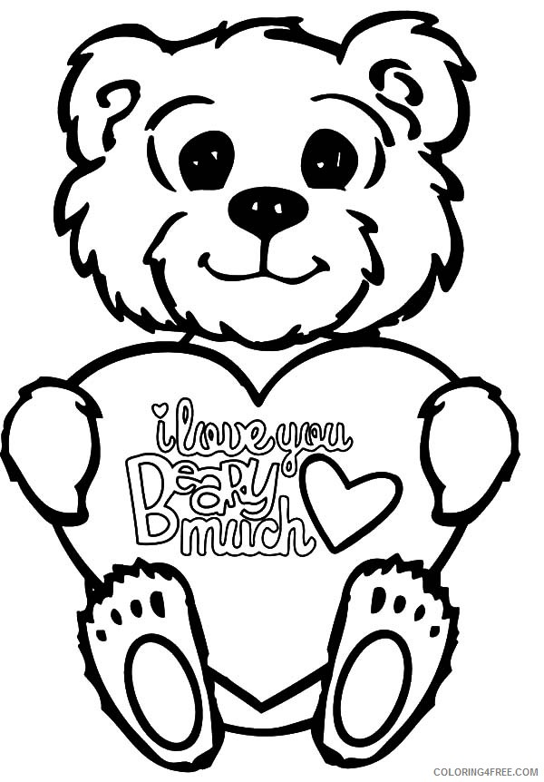 i love you coloring pages cute teddy bear Coloring4free