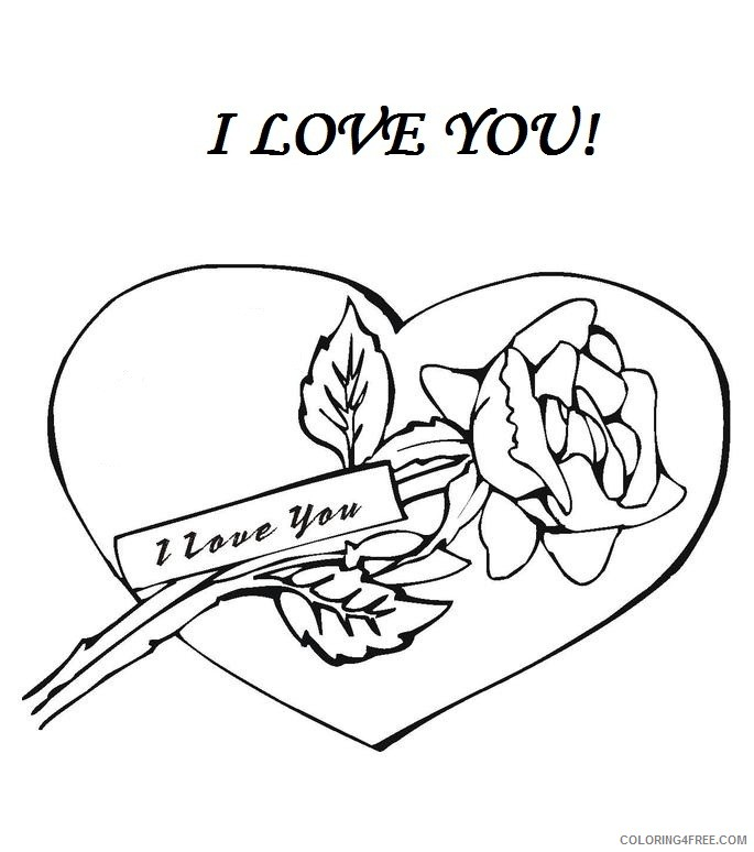 i love you coloring pages rose and heart Coloring4free