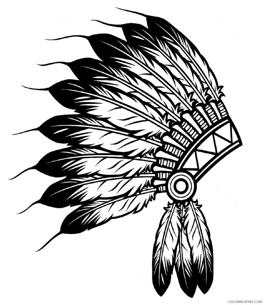 indian coloring pages headdress Coloring4free