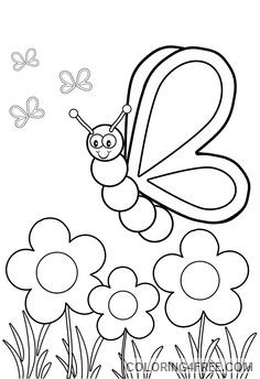 insect coloring pages butterflies and flowers Coloring4free
