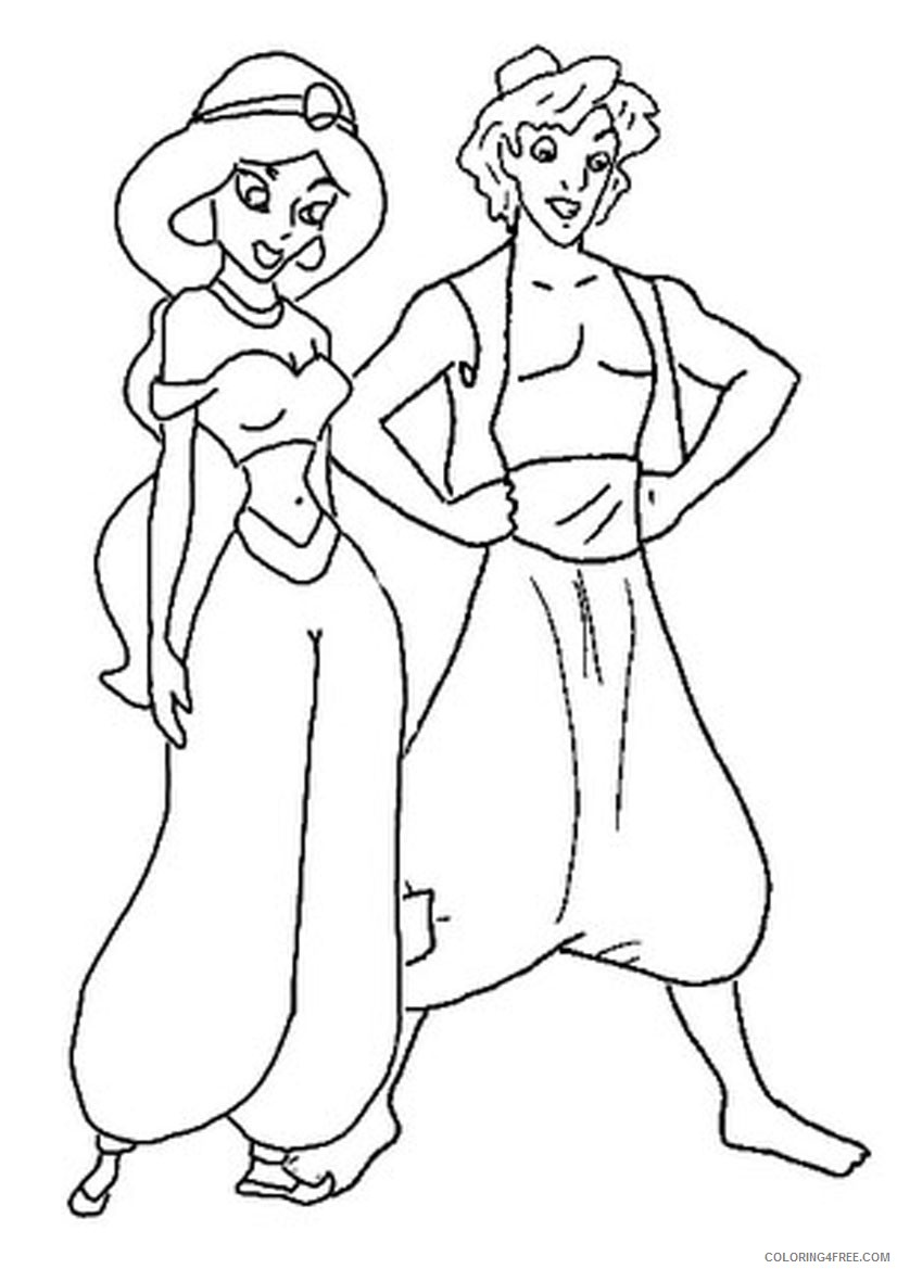 jasmine and aladdin coloring pages Coloring4free