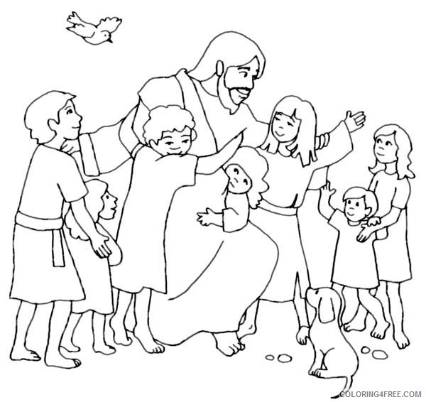 jesus coloring pages with children Coloring4free